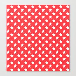 White stars on a red background Canvas Print
