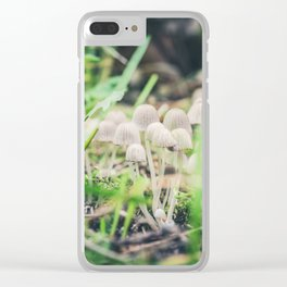 Beautiful toxic mushrooms at the forest, macro shot Clear iPhone Case