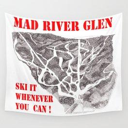 Mad River Glen Vermont, Ski Zentangle Illustration Wall Tapestry