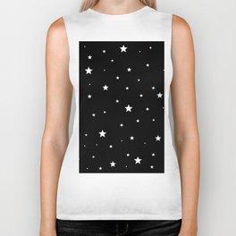Scattered Stars - white on black Biker Tank