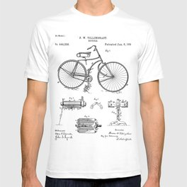 Bicycle Patent - Cyclling Art - Black And White T-shirt