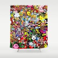 pixel art Shower Curtains featuring Pixel art by Ilya Konyukhov