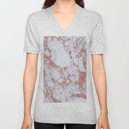 Intense rose gold marble Unisex V-Neck