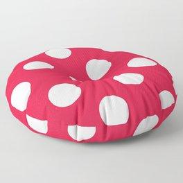 Large Polka Dots - White on Crimson Red Floor Pillow