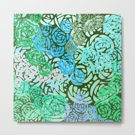 Colorful Overlapping Roses on Roses Print Design 2 Metal Print