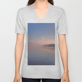 Foggy Morning on the Lake Unisex V-Neck
