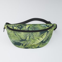 Lush Green Monstera And Palm Leaf Pattern Fanny Pack