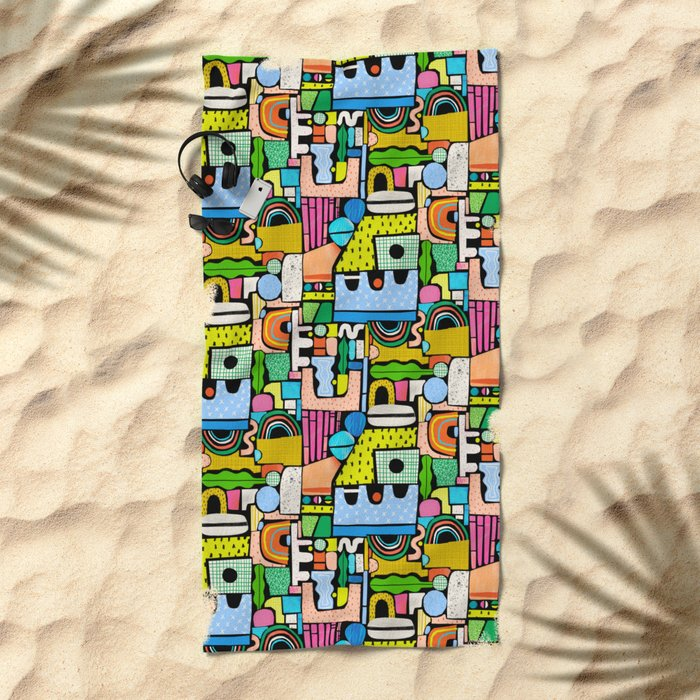 Color Block Collage Beach Towel