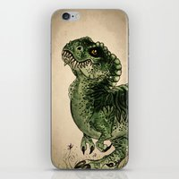 trex iPhone & iPod Skins featuring Baby T-Rex by River Dragon Art