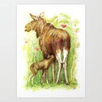 elk Art Prints featuring Elk by Natalie Berman