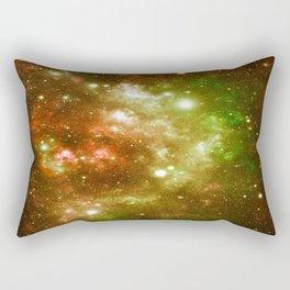 Golden Brown & Green Galaxy Nebula Rectangular Pillow