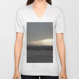 Oresund Bridge in a storm  Unisex V-Neck