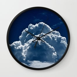 Puffy Cumulus clouds on Deep Blue Sky Wall Clock