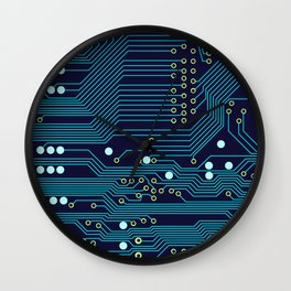 Dark Circuit Board Wall Clock