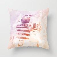 r2d2 Throw Pillows featuring R2D2 by eARTh