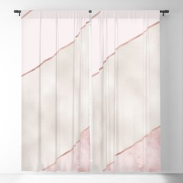 Spliced mixed pink marble and rose gold Blackout Curtain