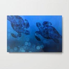 Sea Turtle In Deep Blue Water Metal Print