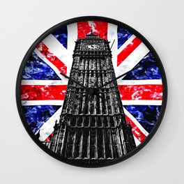Big Ben (also known as Elizabeth Tower) with the Union Jack (UK flag) in the Backgroung - UK and London Cultural Icons and Symbols - Amazing Watercolor plus Oil painting Wall Clock