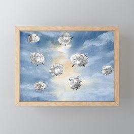 Digital Sheep in a Watercolor Sky Framed Mini Art Print
