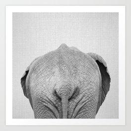 Elephant Tail - Black & White Art Print