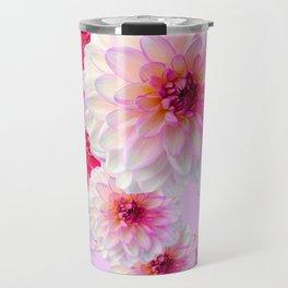 FUCHSIA CERISE-WHITE DAHLIA FLOWERS GARDEN ART Travel Mug