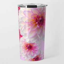 FUCHSIA CERISE-WHITE DAHLIA FLOWERS GARDEN ART Travel Mug