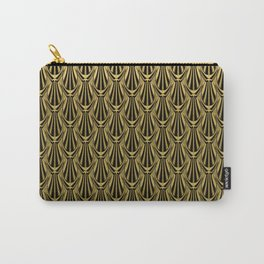 Overlapping Shell Pattern in Gold Carry-All Pouch