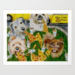 Canines Feast On New York Pizza Art Print