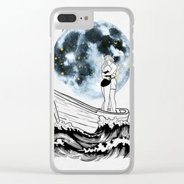 Night above the moon. Clear iPhone Case