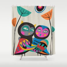Owls hugging Shower Curtain