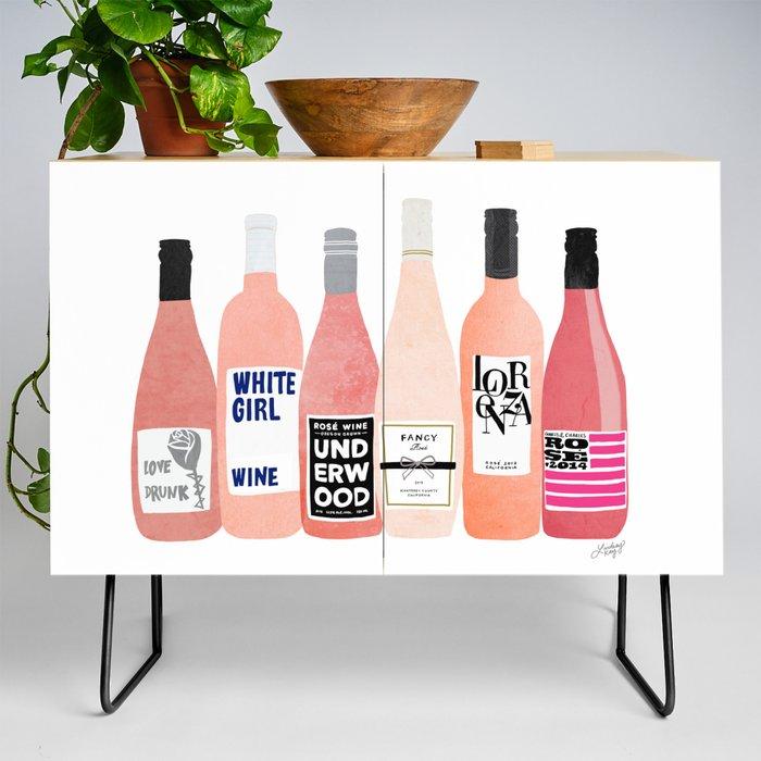 Rose Wine Bottles Credenza