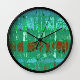 Abstract Forest Trees in Teal and Green Wall Clock