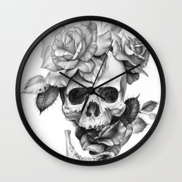 Black and white Skull and Roses Wall Clock