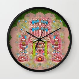 Sankta Lucia with friends light and floral santa skulls Wall Clock