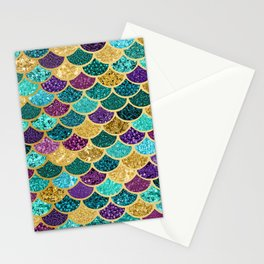 Glitter Blues, Purples, Greens, and Gold Mermaid Scales Stationery Cards
