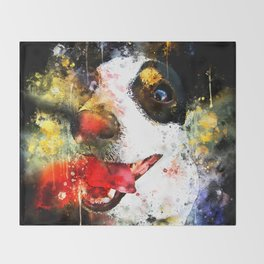 jack russell terrier dog crazy eyes ws Throw Blanket
