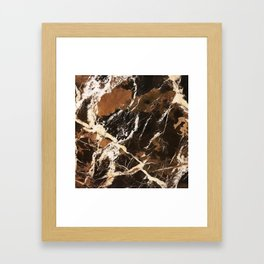 Sienna Brown and Black Marble With Creamy Veins Framed Art Print