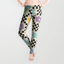 Retro Colorful Flower Double Checker Leggings