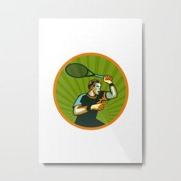 Tennis Player Racquet Circle Retro Metal Print