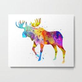 Watercolor Moose Metal Print