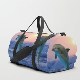 Dolphins at sunrise Duffle Bag