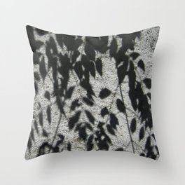 Grey shadows of green leaves Throw Pillow