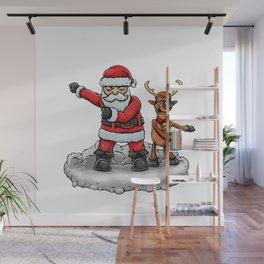 Santa and Reindeer flossing Wall Mural