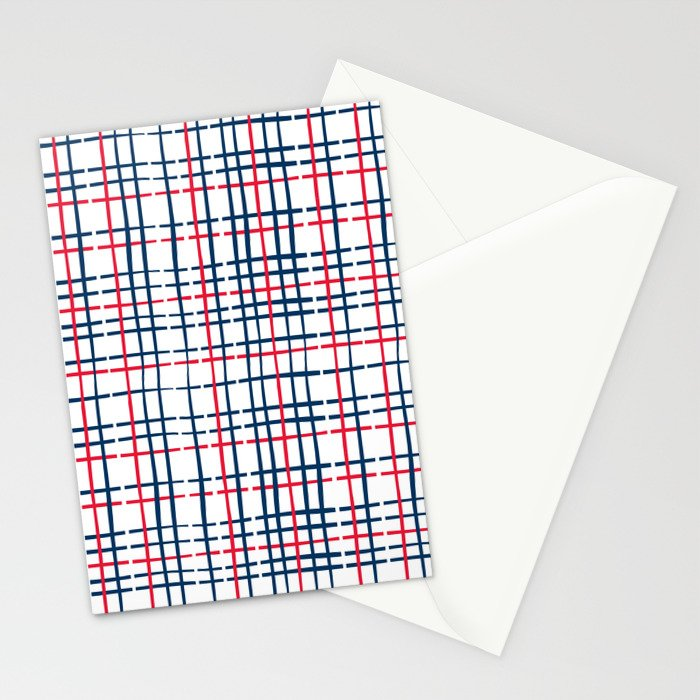 4th of July Skinny Gingham Stationery Cards