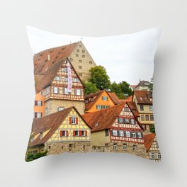 Traditional medieval German houses Throw Pillow
