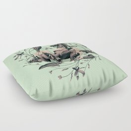 Horses and birds Floor Pillow