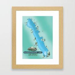 Bassenthwaite Lake, lake district travel poster map Framed Art Print