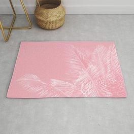 Millennial Pink illumination of Heart White Tropical Palm Hawaii Rug