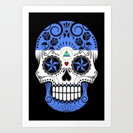 Sugar Skull with Roses and Flag of Nicaragua Art Print