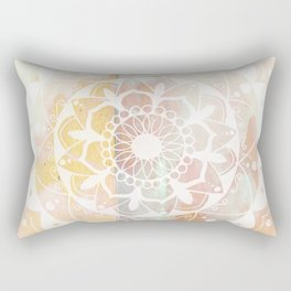 Zen white mandala on pink Rectangular Pillow